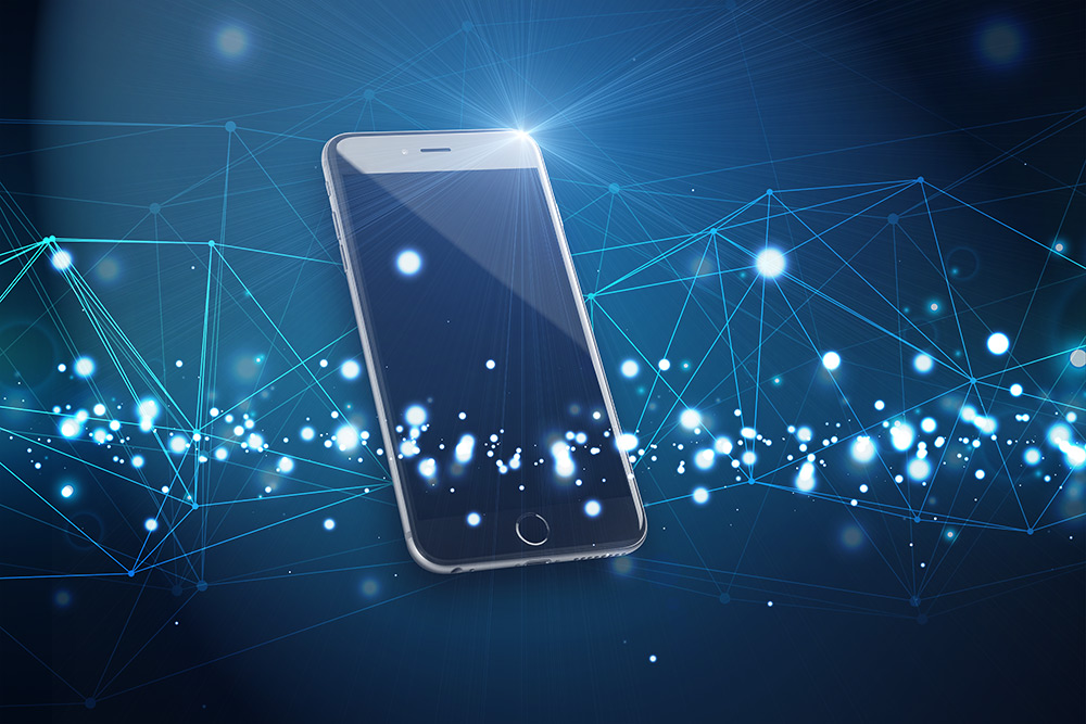 Smartphone with Technology Background